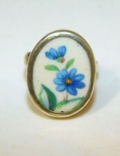 USVI St Croix Sterling Silver Hicks Cheney 2 Blue Flower Round sz 8.5 Ring 3d 55