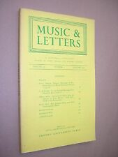 MUSIC & LETTERS. JANUARY 1977. QUARTERLY JOURNAL. OUP. J A WESTRUP