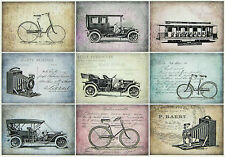 Ricepaper/Decoupage paper, Scrapbooking Sheets Vintage Old Vehicles Postcards