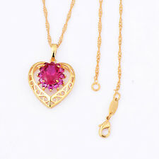 womens girls 14k gold filled ruby heart pendant gold chain long necklace