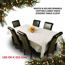 White Silver Christmas Party Table Cloth Cover Cotton Lurex Sparkle Large Checks