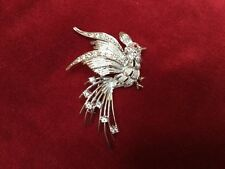 Vintage Costume Jewelry LARGE Silver Tone Clear Crystal Red eye PEACOCK BROOCH