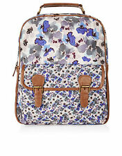 Monsoon Accessorize floral blue tan strap Backpack bag bnwt school college £35