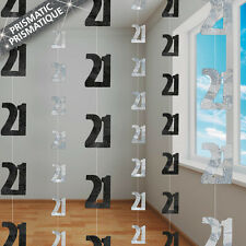 6 Happy 21st Birthday Black Sparkle Prismatic 5ft String Party Decorations