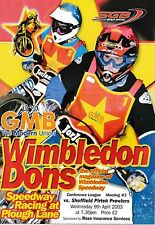 Speedway Programme WIMBLEDON DONS v SHEFFIELD PROWLERS Apr 2003