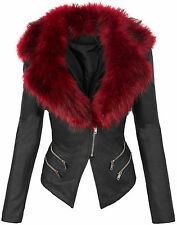 Ladies designer faux leather between-seasons jacket biker look fur collar