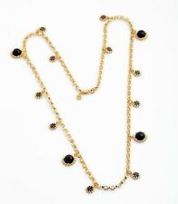 NEW Designer Style Black Gold Clover Necklace Pendant Charm Chain Link Statement