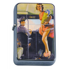 Windproof Refillable Fliptop Oil Lighter Classic Vintage Model Pin Up Girl D-170