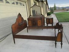 ANTIQUE 4 PIECE INLAID MAHOGANY FURNITURE BEDROOM SET,TABLE, BED, ARMOIRE