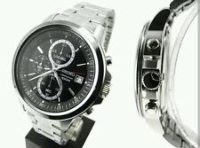 Seiko Men's Chrono Black Dial Stainless Steel Bracelet Watch - SKS445P1. New