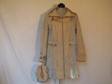 "Cole Haan Ladies Packable Hood Rain Anorak Coat Long Jacket ""M"" Topaz Tan"