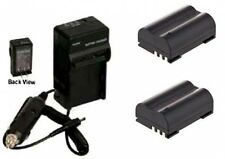 TWO 2 BLM-1 BLM0-1 Batteries + Charger for Olympus C-5060 C-7070 C-8080 E-1 E-3