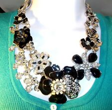"White House Black Market Signed 18"" NECKLACE silver w/ black & crystal flowers !"