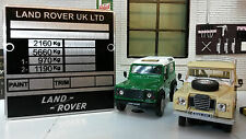 Land Rover Series 3 Lightweight FFR Bulkhead Chassis Information Plate Plaque