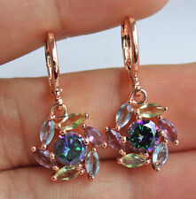 18K Rose Gold Filled -Windmil Flower Amethy MYSTICAL Topaz Hollow Women Earrings