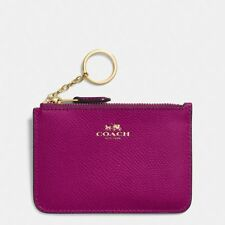 COACH KEY CHAIN POUCH GUSSET FUSHIA CROSSGRAIN LEATHER COIN PURSE WALLET $65
