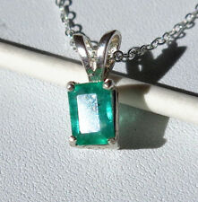 ".55ct Natural Green EMERALD .925 Sterling Silver Gemstone Pendant 18"" Necklace"