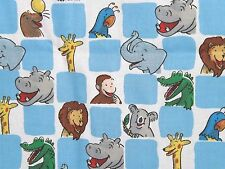 BTHY CURIOUS GEORGE CHECKERBOARD ZOO ANIMALS Collectible COTTON FABRIC Quilting