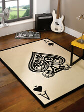 Modern Ace of Spades Skull Design Black White Rug in 120 x 160 cm (4' x 5'4'')
