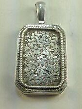 Antique Victorian English Sterling Silver Heart Locket Necklace Pendant