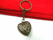 Vintage Antique Bronze Heart Waved Flower Keyring Bag Charm Handbag Keychain