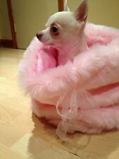 CHIHUAHUA DOG PET BED BABY PINK  FAUX FUR SNUGGLE SAK SACK PUPPY HUG