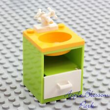 NEW Lego Belville BATHROOM SINK Lime Green w/White Faucet Tap Yellow Basin -RARE