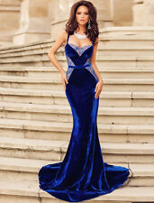 New royal blue velvet & lace evening prom cocktail long dress Size M UK 10-12