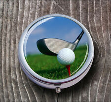 GOLF BALL ON RED TEE PILL BOX ROUND METAL -jhg1Z