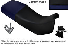 BLACK & NAVY BLUE CUSTOM FITS KAWASAKI KLE 500 91-07 DUAL LEATHER SEAT COVER