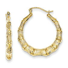 10k Solid Yellow Gold Bamboo Polished Classic Hoop Earrings 3mm W x 20MM L