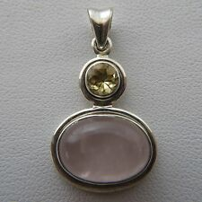 Beautiful ROSE QUARTZ and CITRINE Pendant in 925 STERLING SILVER / Natural  §1