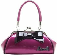 Sourpuss Super Floozy Purse Pink & Blk Punk Goth Rocker Tattoo 50S Retro Handbag