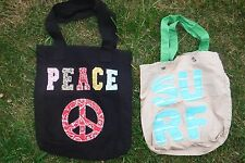"One Old Navy ""SURF"" Khaki and Blue & One ""PEACE"" Black Bag Tote Fabric Purse"