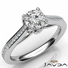 Shiny Round Diamond Channel Set Engagement Ring GIA F VS1 18k White Gold 1.02Ct