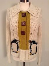 Womens Anthropologie Field And Flower Penguin Cardigan Sweater XL