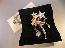"KIRKS FOLLY VINTAGE/SIGNED ""CHERUB W/SHOOTING STARS BROOCH"" HEART CRYSTAL/STARS"