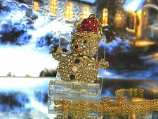 KIRKS FOLLY 24 inch red  hat  snowman crystals rare piece necklace