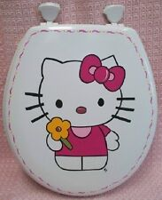 HAND PAINTED HELLO KITTY TOILET SEAT/ELONGATED WHITE/DOUBLE SIDED/