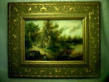 Fine ANTIQUE original HUNGARIAN - HUNGARY OIL PAINTING ( FARM HOUSE  )