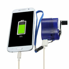 New USB Travel Emergency Phone Charger Dynamo Hand Manual Charger Blue DP