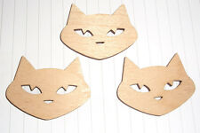 Kawaii Cute Plywood cat Charms Pendants x 3 Kitsch Pussy Cutouts Hobby Craft