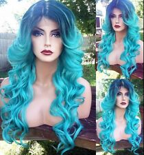 USA Long Ombre Light Blue Green LACE FRONT & Skin Top HEAT OK Dark Root Teal Wig