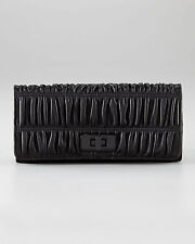 NEW Prada Turnlock Continental Ruched Wallet -100% AUTHENTIC