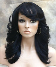 Human Hair Blend Heat Safe Wig Feathered and Layered Off Black WBOH 1B