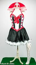 Queen Of Hearts Sexy 3 Pc Blk-Red-Wht Fantasy Costume Dress Crown & Stockings XL