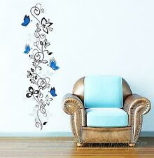 WALL ART STICKERS ROOM BLUE FLOWERS VINE BUTTERFLIES VINYL DECALS HOME DECOR