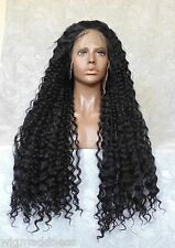 "5"" Lace Front XLong Curly Wavy Jet Black High Heat ""FUTURA"" Synthetic Wig - WM17"