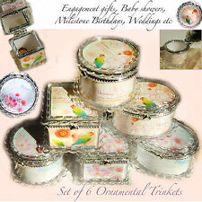 6 Gift Boxes Jewellery Trinket Bonbonniere Wedding Christening Party Baby Favour