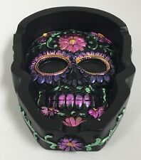 Metallic Purple Sugar Skull Day of the Dead Flat Ashtray Dia de Los Muertos New